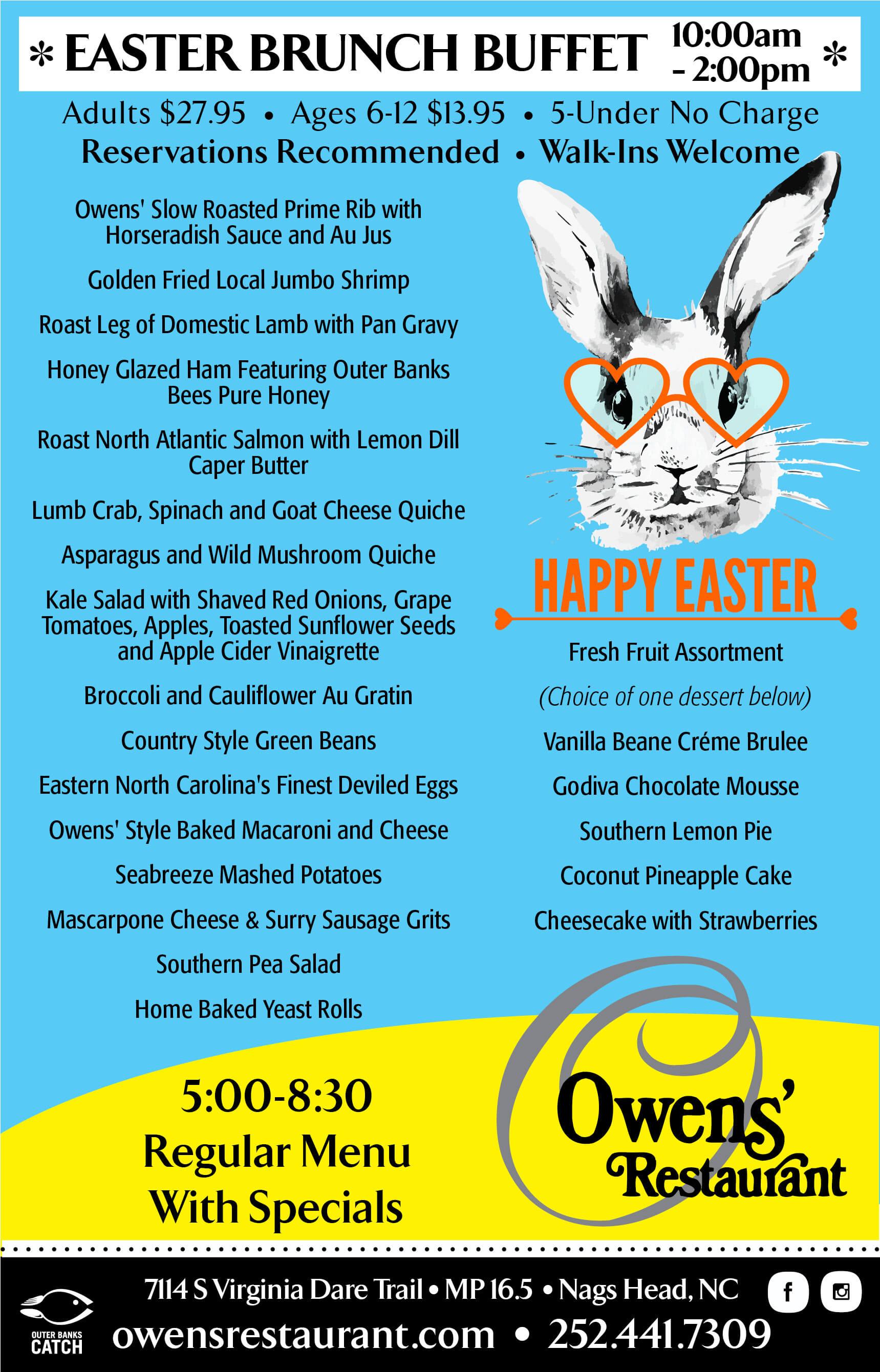 Owens' Restaurant Menu - Nags Head Restaurant Serving Fine